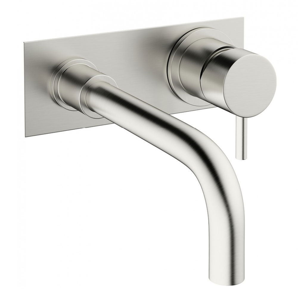 Crosswater - Mike Pro Wall Mounted 2 Hole Set Basin Mixer with Back Plate - Brushed Stainless Steel - PRO121WNV Large Image