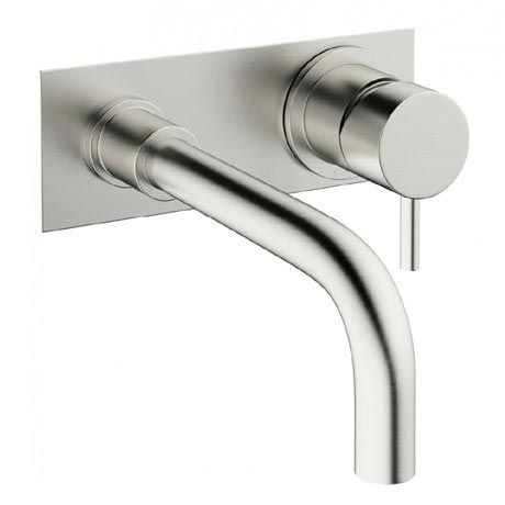 Crosswater - Mike Pro Wall Mounted 2 Hole Set Basin Mixer with Back Plate - Brushed Stainless Steel - PRO121WNV