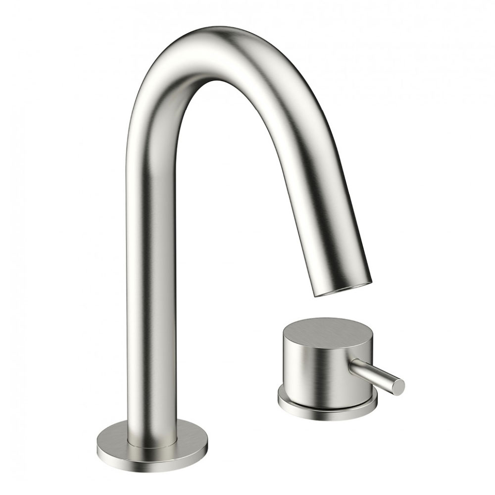 Crosswater - Mike Pro Deck Mounted 2 Hole Set Basin Mixer - Brushed Stainless Steel - PRO125DNV Large Image