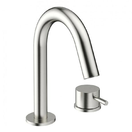 Crosswater - Mike Pro Deck Mounted 2 Hole Set Basin Mixer - Brushed Stainless Steel - PRO125DNV