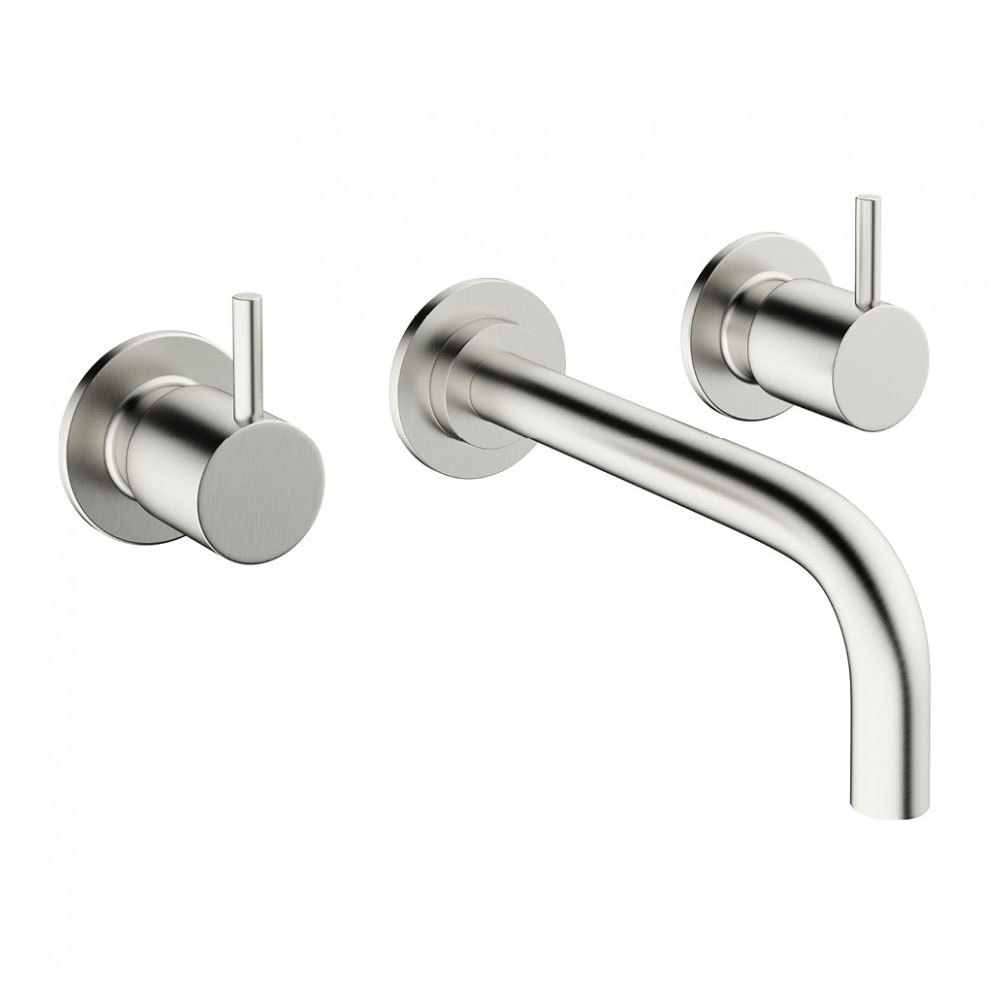 Crosswater MPRO Wall Mounted 3 Hole Set Basin Mixer - Brushed Stainless Steel - PRO130WNV+