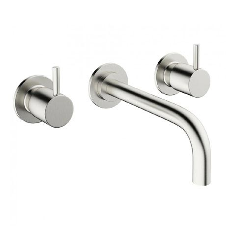 Crosswater - Mike Pro Wall Mounted 3 Hole Set Basin Mixer - Brushed Stainless Steel - PRO130WNV