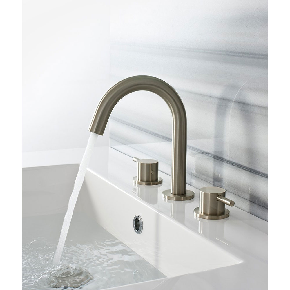Crosswater - Mike Pro Deck Mounted 3 Hole Set Basin Mixer - Brushed Stainless Steel - PRO135DNV Profile Large Image