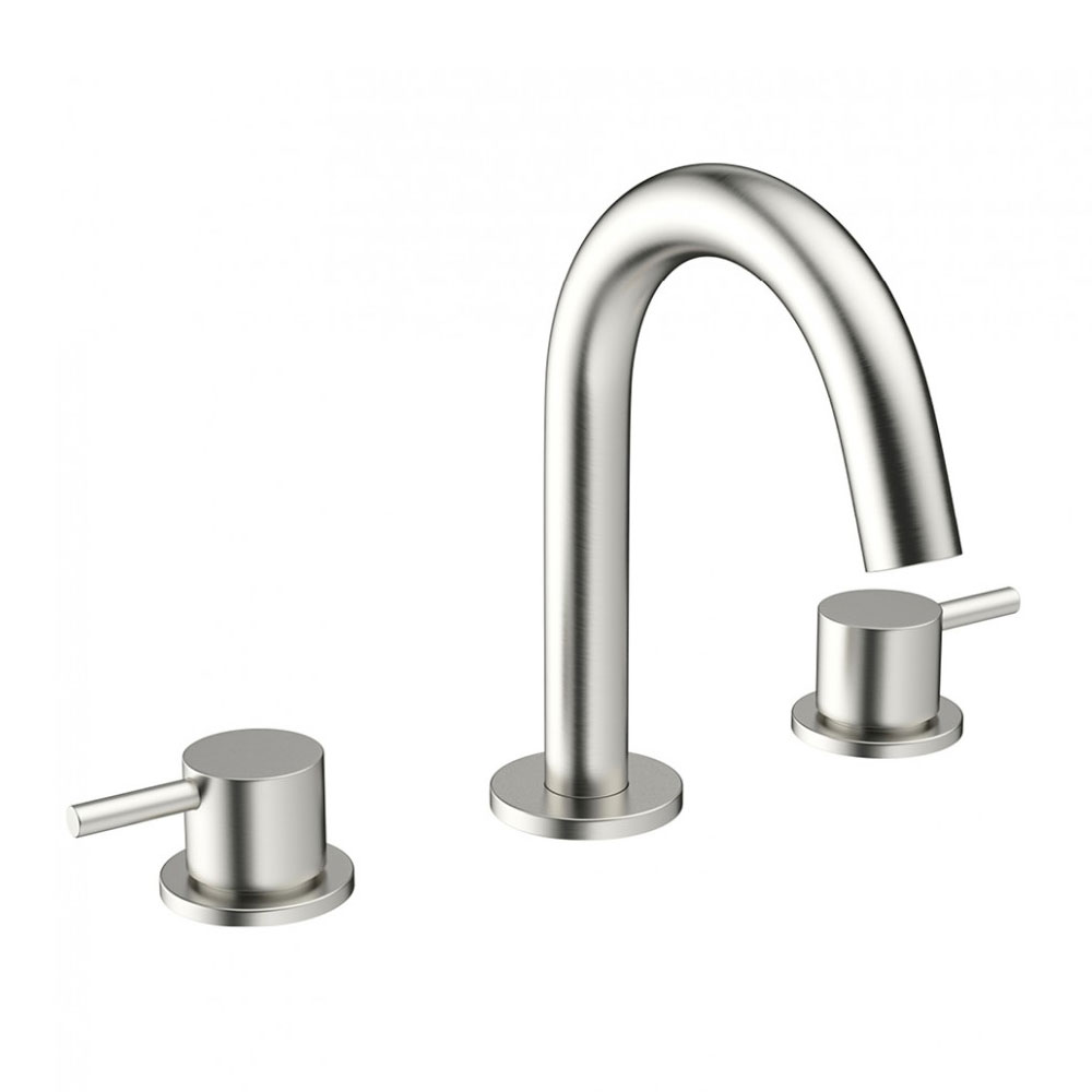 Crosswater - Mike Pro Deck Mounted 3 Hole Set Basin Mixer - Brushed Stainless Steel - PRO135DNV Large Image