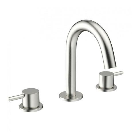 Crosswater - Mike Pro Deck Mounted 3 Hole Set Basin Mixer - Brushed Stainless Steel - PRO135DNV