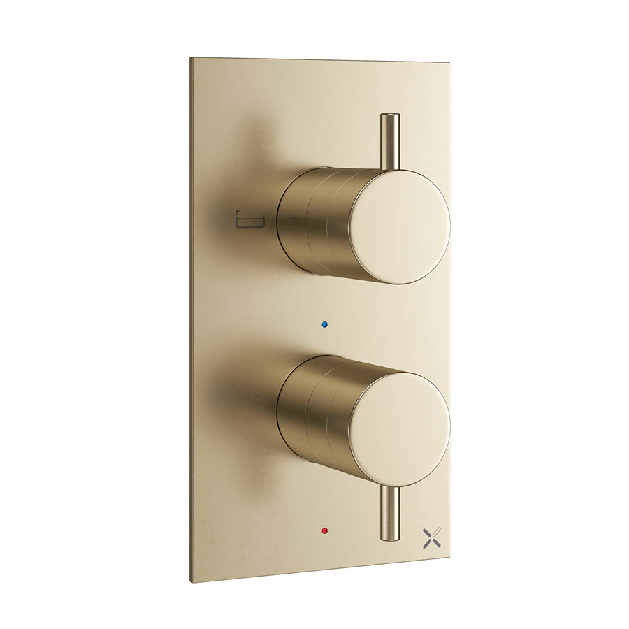 Crosswater MPRO Thermostatic Bath Shower Valve - Brushed Brass - PRO1500RF+