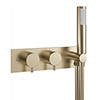 Crosswater MPRO Thermostatic Shower Valve with Handset - Brushed Brass - PRO1701RF+ profile small image view 1