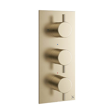 Crosswater MPRO Triple Concealed Thermostatic Shower Valve - Brushed Brass - PRO2000RF+