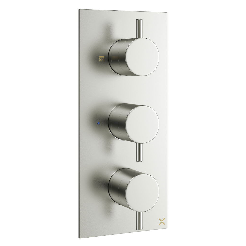 Crosswater - Mike Pro Triple Concealed Thermostatic Shower Valve - Brushed Stainless Steel - PRO2000RV Large Image
