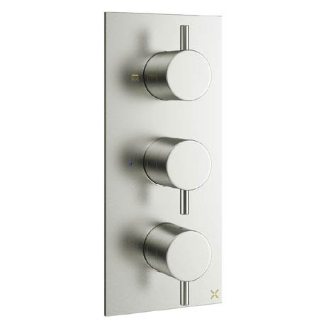 Crosswater - Mike Pro Triple Concealed Thermostatic Shower Valve - Brushed Stainless Steel - PRO2000RV
