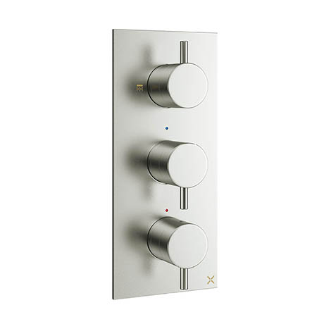 Crosswater - Mike Pro Triple Concealed Thermostatic Shower Valve - Brushed Stainless Steel - PRO2000