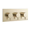 Crosswater MPRO Triple Concealed Thermostatic Shower Valve - Brushed Brass - PRO2001RF+ profile small image view 1