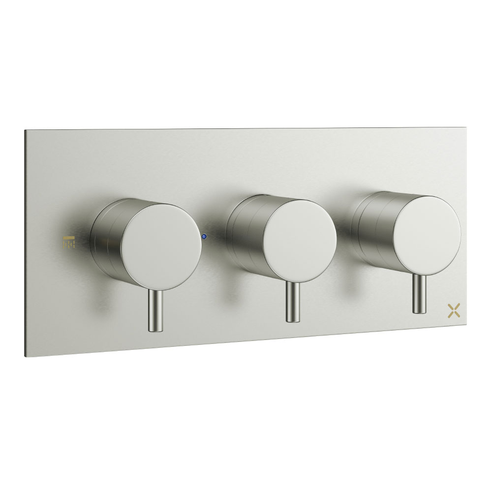 Crosswater - Mike Pro Triple Concealed Thermostatic Shower Valve - Brushed Stainless Steel - PRO2001RV Large Image
