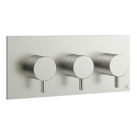 Crosswater - Mike Pro Triple Concealed Thermostatic Shower Valve - Brushed Stainless Steel - PRO2001RV