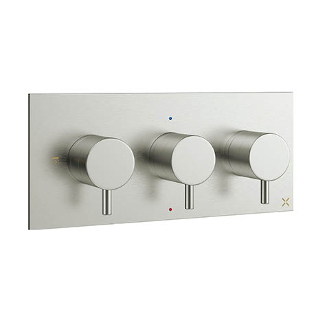 Crosswater - Mike Pro Triple Concealed Thermostatic Shower Valve - Brushed Stainless Steel - PRO2001