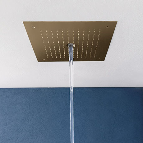 Crosswater MPRO Stream Fixed Ceiling Mounted Square Shower Head - Brushed Brass - PRO380F