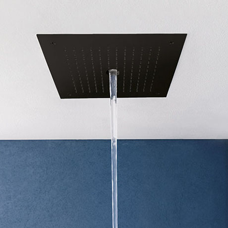 Crosswater MPRO Stream Fixed Ceiling Mounted Square Shower Head - Matt Black - PRO380M
