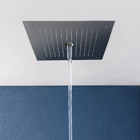 Crosswater MPRO Stream Fixed Ceiling Mounted Square Shower Head - Brushed Stainless Steel - PRO380V