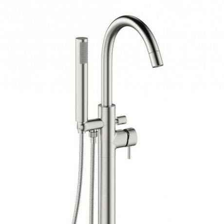 Crosswater - Mike Pro Floor Mounted Freestanding Bath Shower Mixer - Brushed Stainless Steel - PRO416FV profile large image view 2