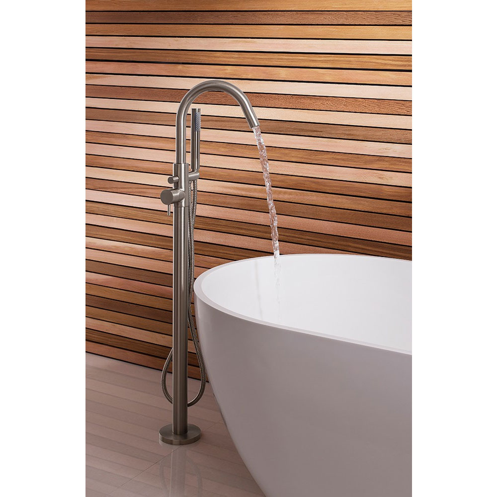 Crosswater - Mike Pro Floor Mounted Freestanding Bath Shower Mixer - Brushed Stainless Steel - PRO416FV profile large image view 3