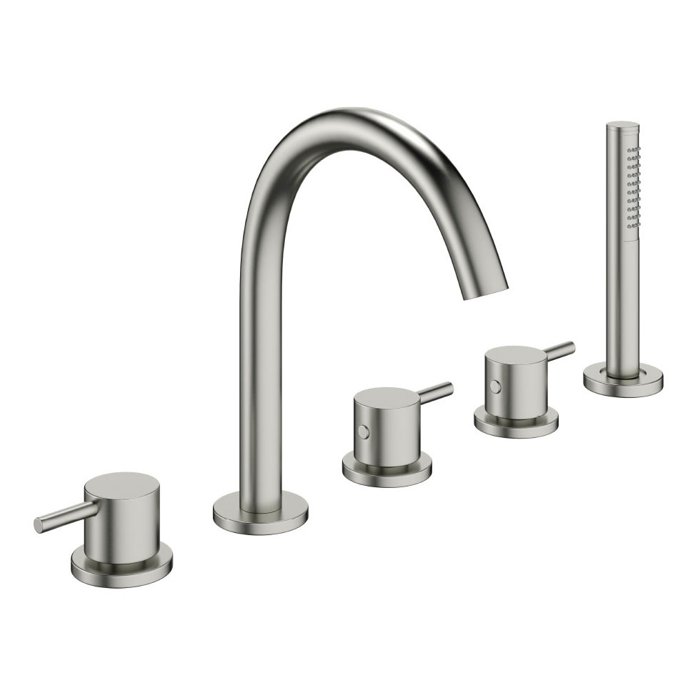 Crosswater - Mike Pro 5 Tap Hole Bath Shower Mixer with Kit - Brushed Stainless Steel - PRO450DV profile large image view 1