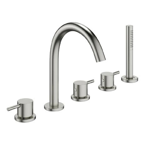 Crosswater - Mike Pro 5 Tap Hole Bath Shower Mixer with Kit - Brushed Stainless Steel - PRO450DV