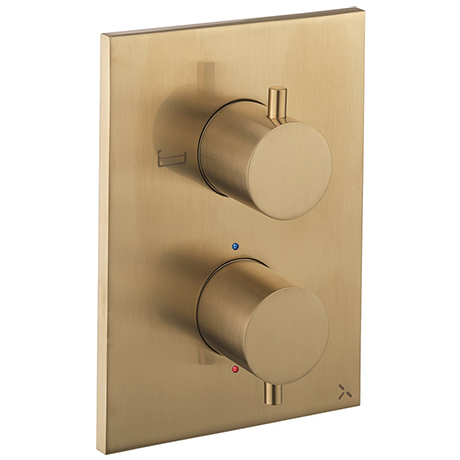 Crosswater - Brushed Brass MPRO Crossbox 2 Outlet (Bath/Shower Icons) Trim & Levers Finishing Kit
