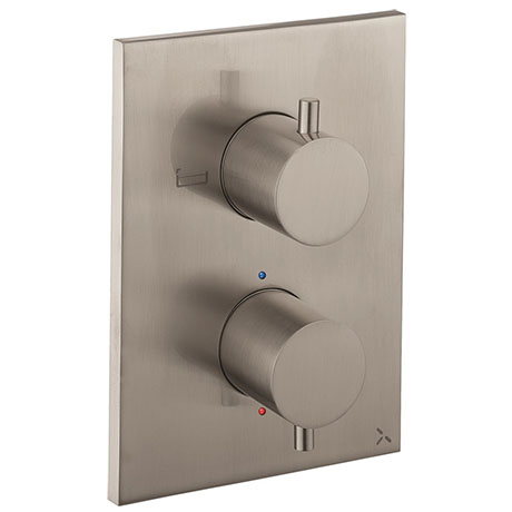 Crosswater - MPRO Stainless Steel Effect Crossbox 2 Outlet (Bath/Shower) Trim & Levers - PROCB1500LB