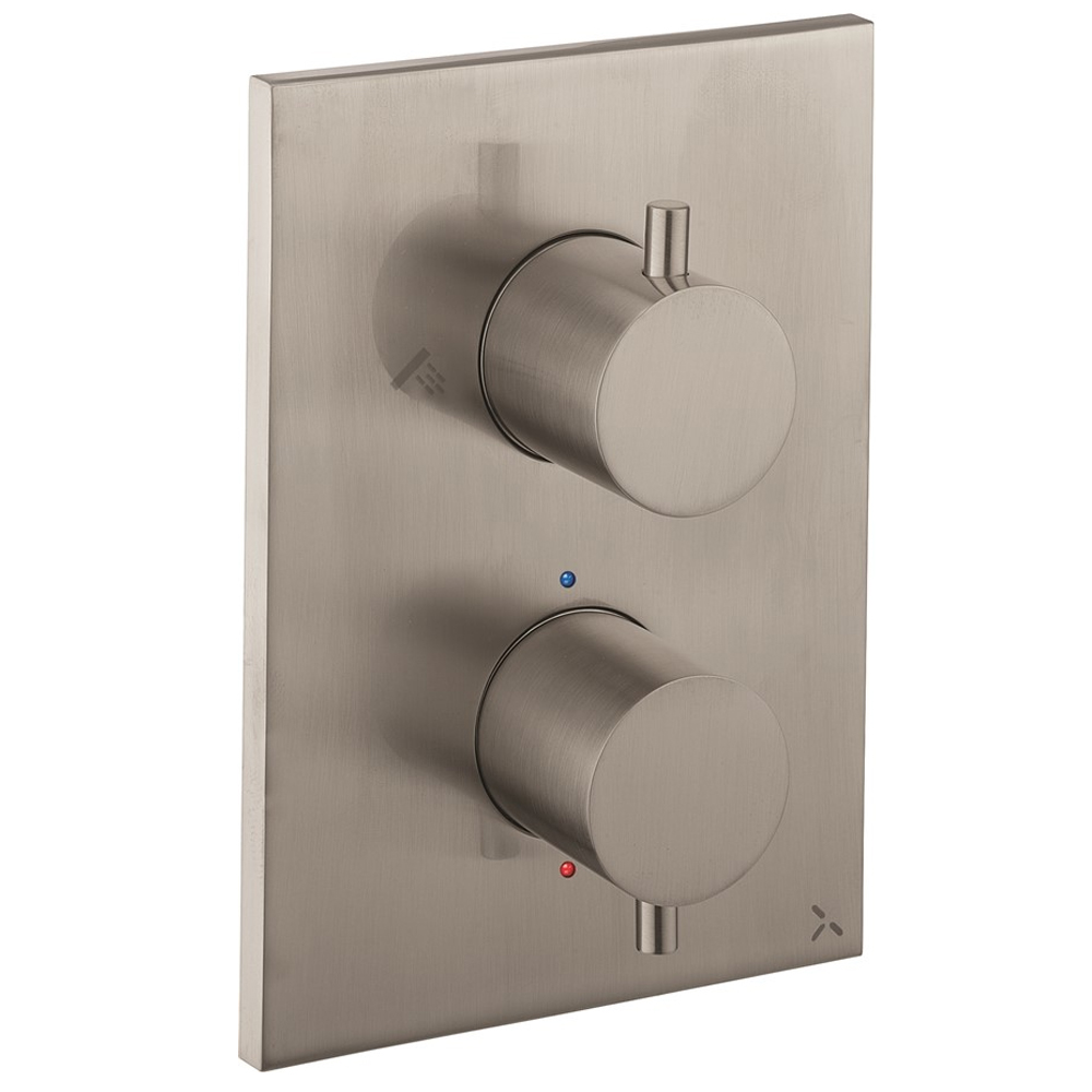 Crosswater - Stainless Steel Effect MPRO Crossbox 2 Outlet (Fixed Head/Handset Icons) Trim & Levers Finishing Kit