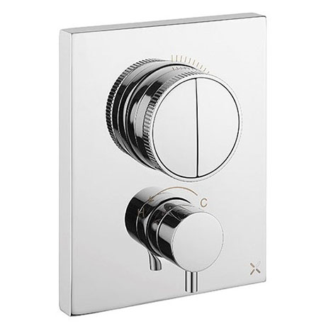 Crosswater MPRO Crossbox Push Chrome 2 Outlet Trim Set