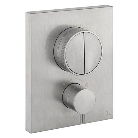 Crosswater MPRO Crossbox Push Brushed Stainless Steel Effect 2 Outlet Trim Set