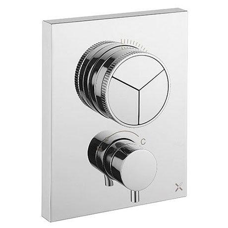 Crosswater MPRO Crossbox Push Chrome 3 Outlet Trim Set