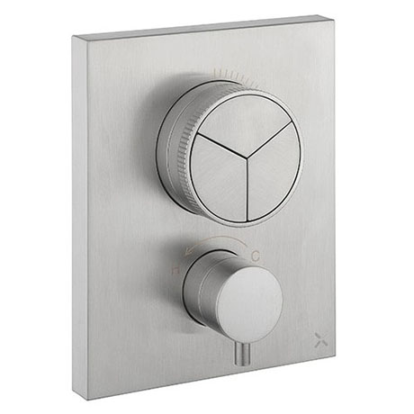 Crosswater MPRO Crossbox Push Brushed Stainless Steel Effect 3 Outlet Trim Set