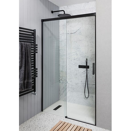 Crosswater Design+ Matt Black Sliding Shower Door
