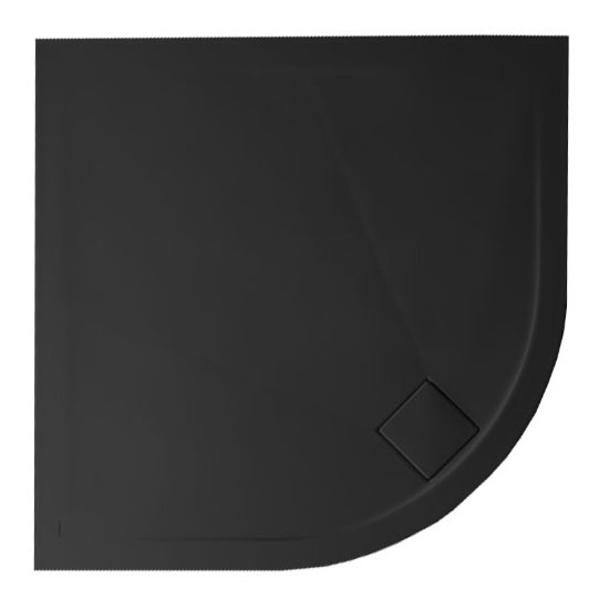 Simpsons - Plus+Ton Quadrant Matt Black Ceramic Shower Tray & Waste - 900 x 900 x 30mm Large Image