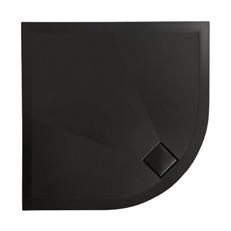Simpsons - Plus+Ton Quadrant Matt Black Ceramic Shower Tray & Waste - 900 x 900 x 30mm