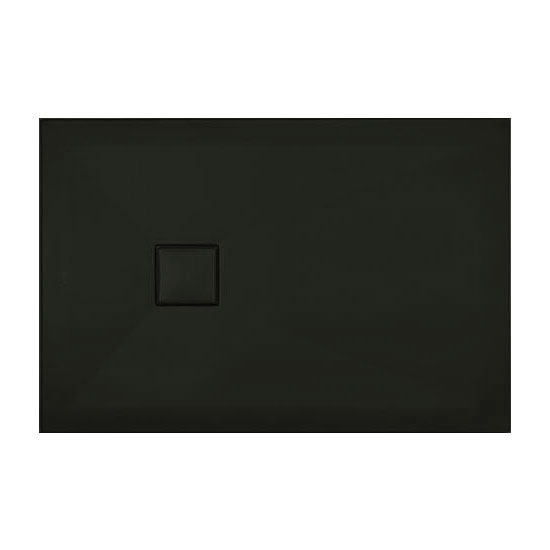 Simpsons - Plus+Ton Rectangular Matt Black Ceramic Shower Tray & Waste - Various Size Options Large Image