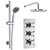 Pablo Triple Thermostatic Valve with Round Shower Head and Slider Rail Kit profile small image view 1