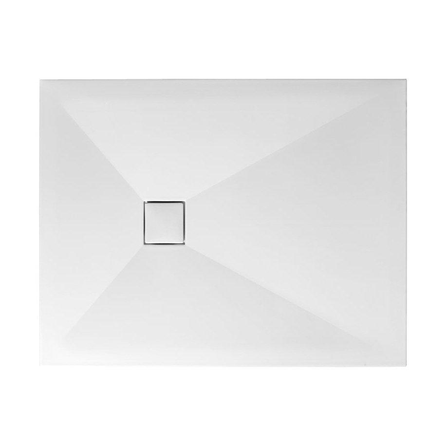Simpsons - Plus+Ton Rectangular Matt White Ceramic Shower Tray + Waste - Various Size Options profile large image view 1
