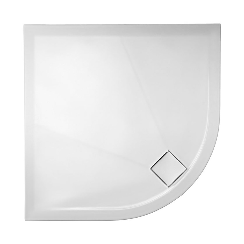 Simpsons - Plus+Ton Quadrant Matt White Ceramic Shower Tray & Waste - 900 x 900 x 30mm Large Image