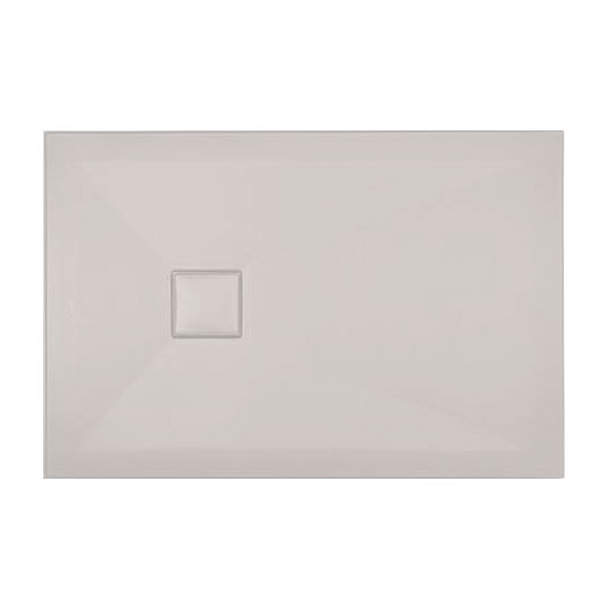 Simpsons - Plus+Ton Rectangular Matt White Ceramic Shower Tray & Waste - Various Size Options Large Image