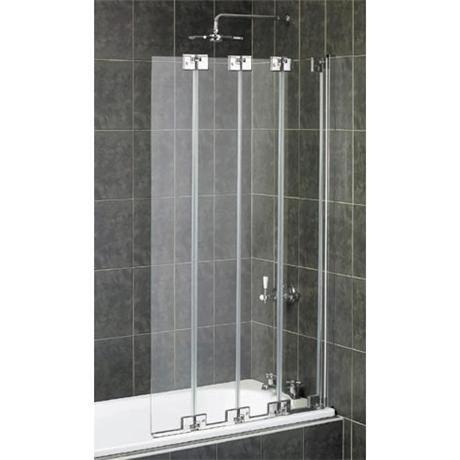 Nice Aqualux   Pura Frameless 4 Fold Bath Screen   Polished Silver   FBS0147AQU