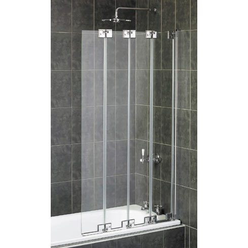 Aqualux Pura Frameless 4 Fold Bath Screen Polished