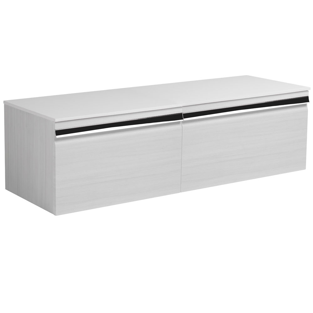 Roper Rhodes Pursuit 1200mm Wall Mounted Unit with Solid Surface Worktop - Alpine Elm Large Image