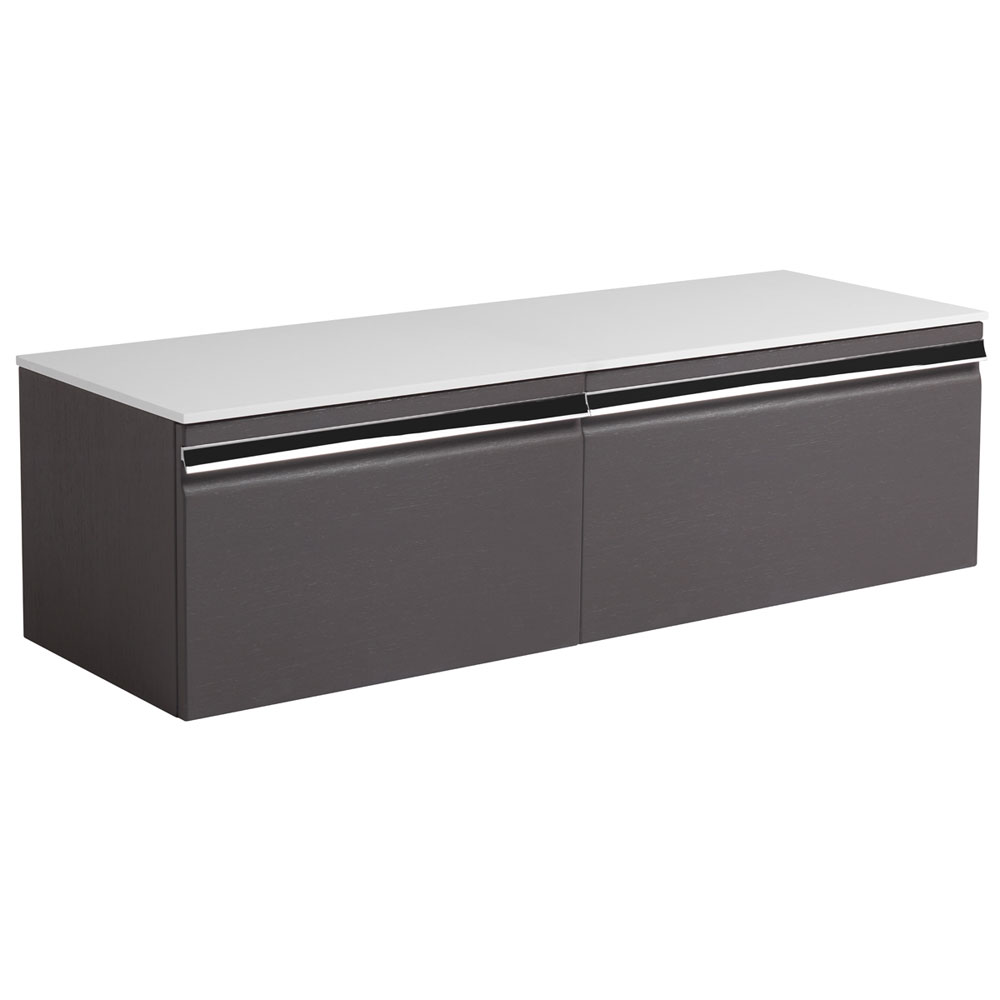 Roper Rhodes Pursuit 1200mm Wall Mounted Unit with Solid Surface Worktop - Charcoal Elm profile large image view 1