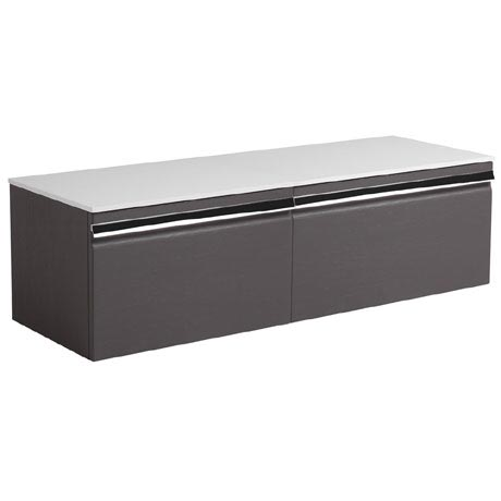 Roper Rhodes Pursuit 1200mm Wall Mounted Unit with Solid Surface Worktop - Charcoal Elm
