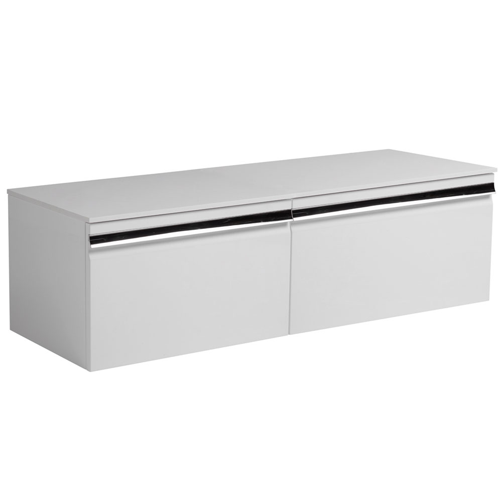 Roper Rhodes Pursuit 1200mm Wall Mounted Unit with Solid Surface Worktop - Gloss White profile large image view 1