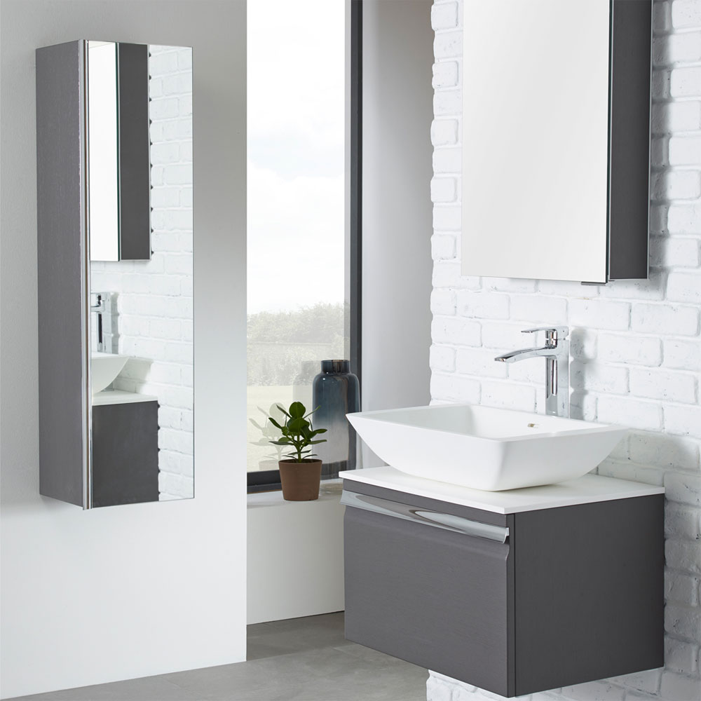 Roper Rhodes Pursuit 600mm Wall Mounted Unit with Solid Surface Worktop - Alpine Elm Feature Large Image
