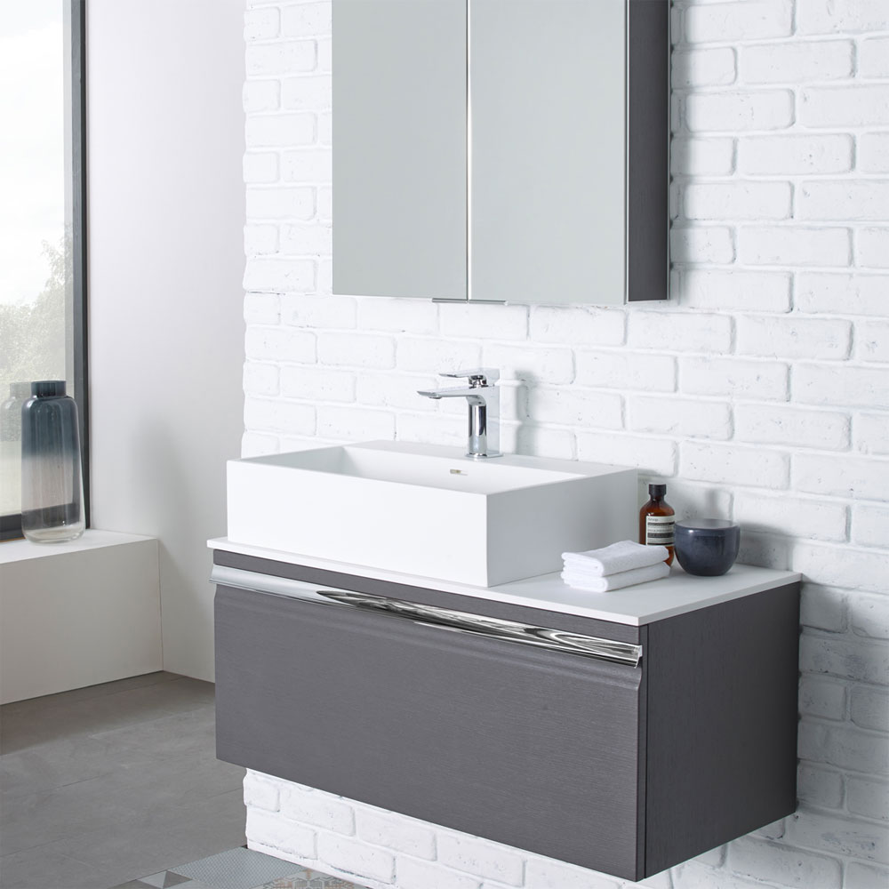 Roper Rhodes Pursuit 900mm Wall Mounted Unit with Solid Surface Worktop - Gloss White profile large image view 4