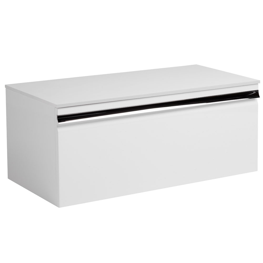Roper Rhodes Pursuit 900mm Wall Mounted Unit with Solid Surface Worktop - Gloss White Large Image